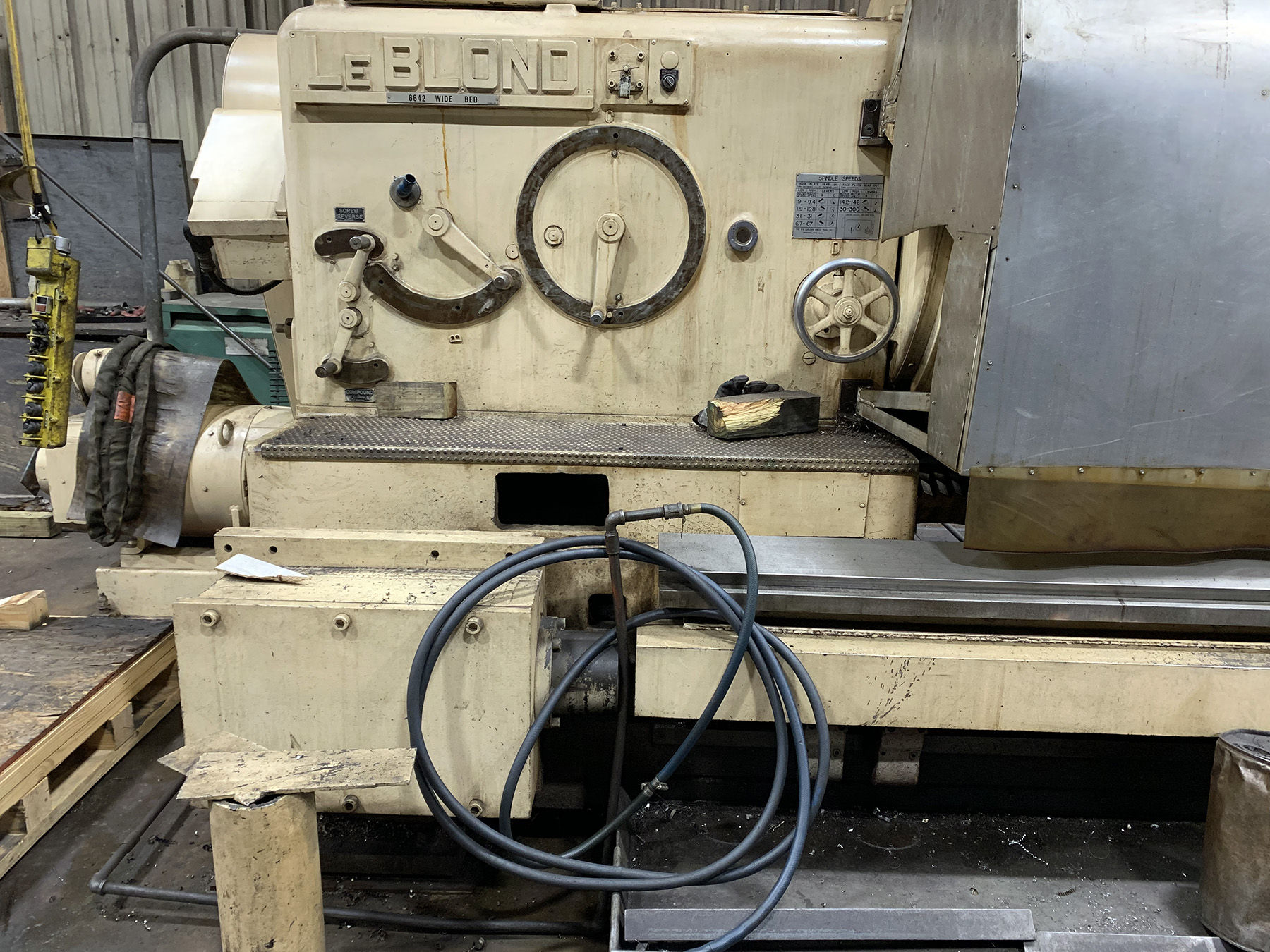 "USED, 66"" X 216"" LEBLOND WB 6642 WIDE BED HEAVY DUTY CNC LATHE"