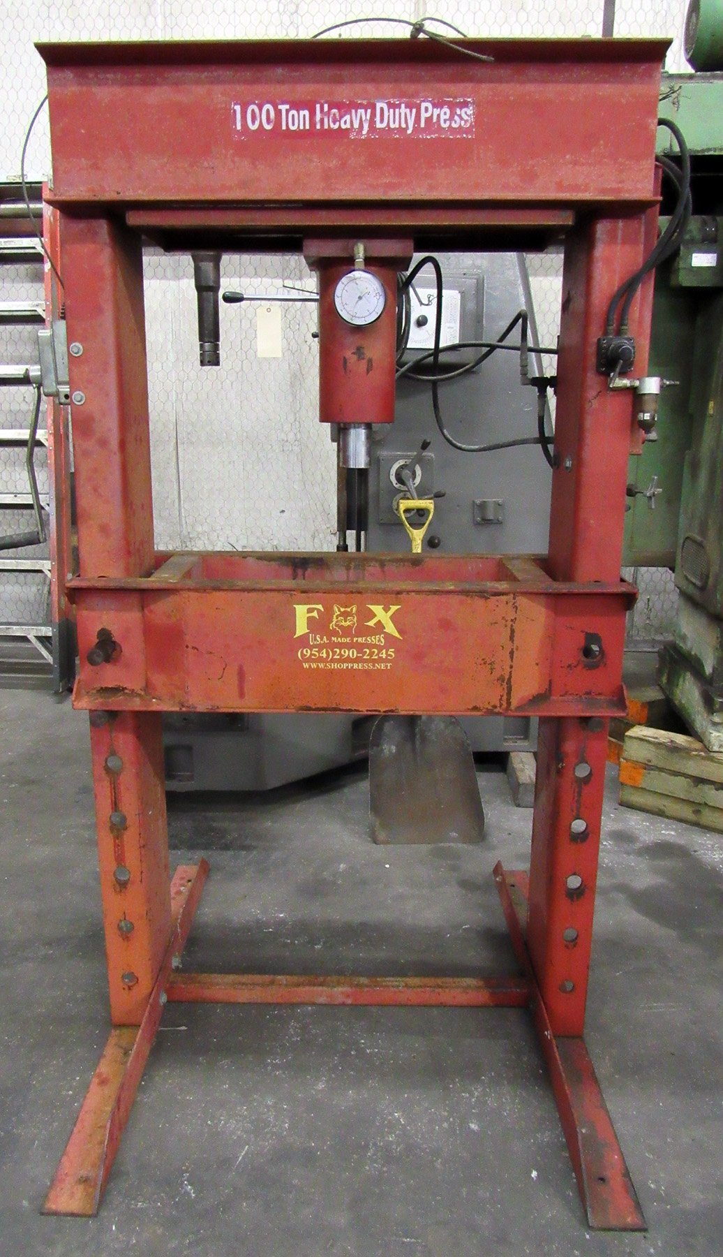 USED, FOX 100 TON AIR/HYDRAULIC HEAVY DUTY H-FRAME PRESS