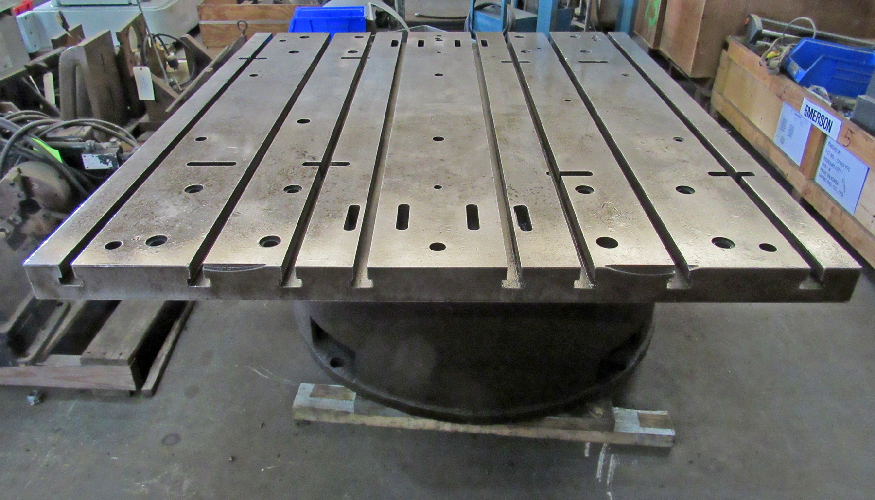 "USED, 55"" X 63"" T-SLOTTED TABLE ON RAISED BASE"