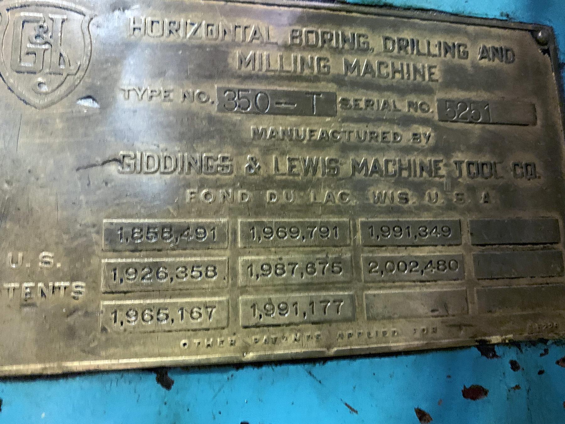 "USED, 5"" GIDDINGS & LEWIS MODEL 350-T TABLE TYPE HORIZONTAL BORING MILL"