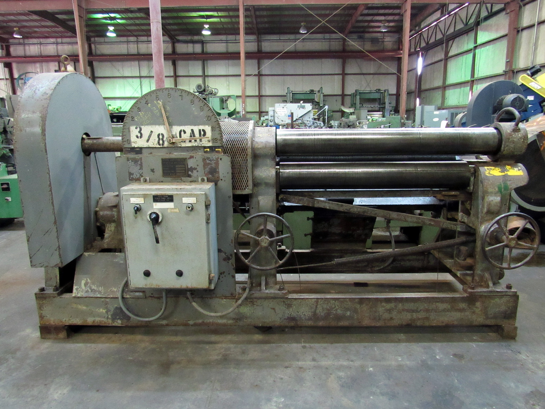 "USED, 3/8"" X 4' POPE 2-1/2 PINCH TYPE PLATE ROLLING MACHINE"