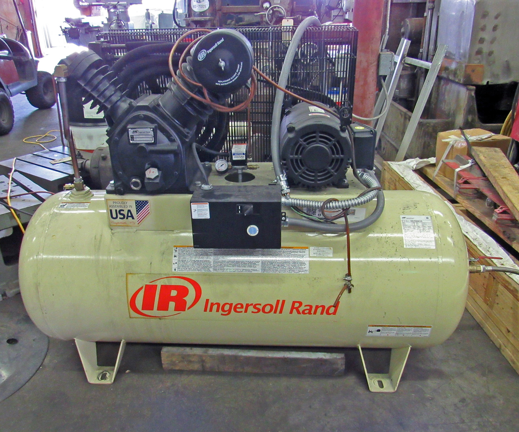 USED, INGERSOLL RAND MODEL 2545 TANK MOUNTED AIR COMPRESSOR