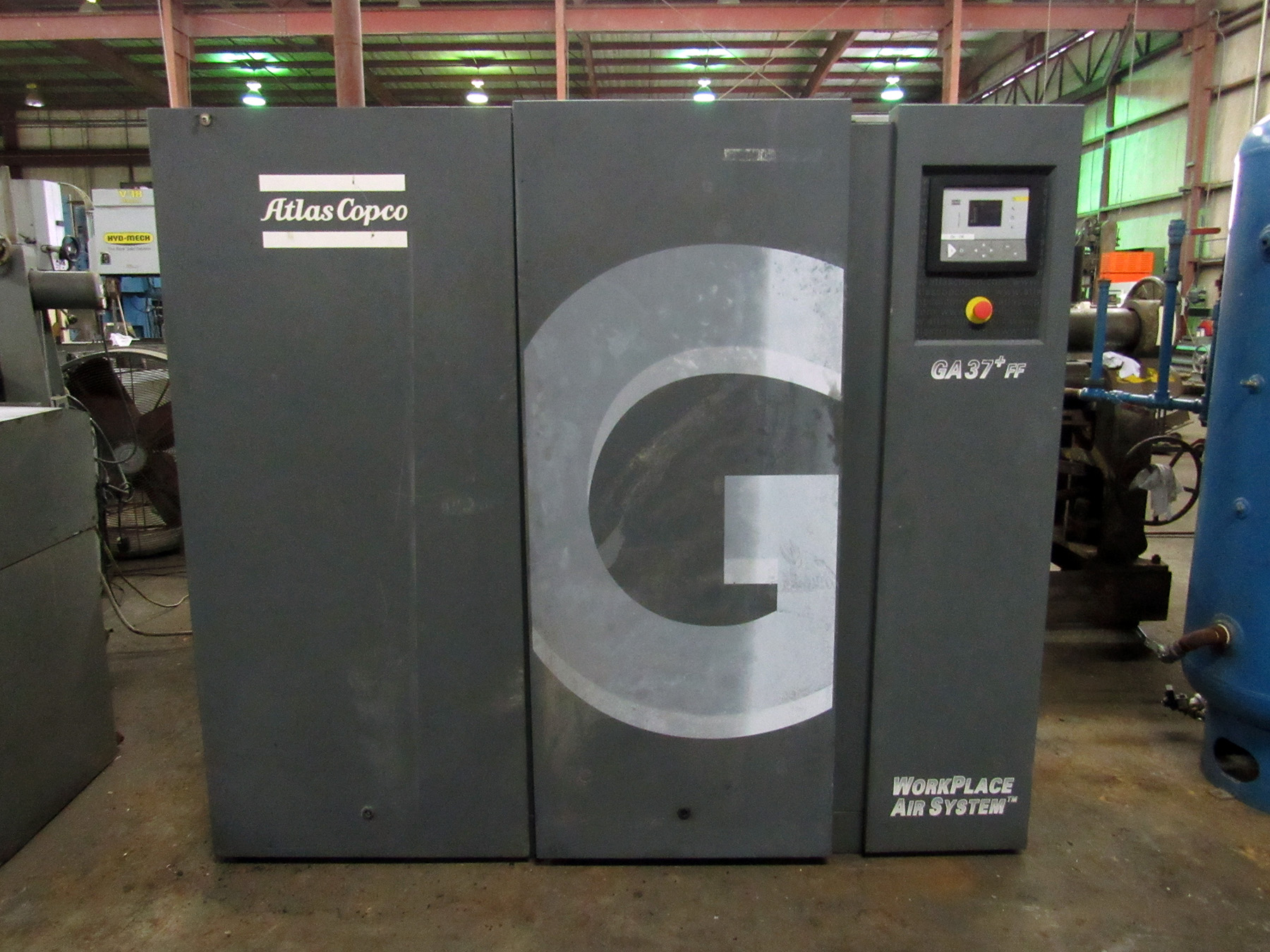 USED, ATLAS COPCO MODEL GA37+FF OIL-INJECTED ROTARY SCREW AIR COMPRESSOR