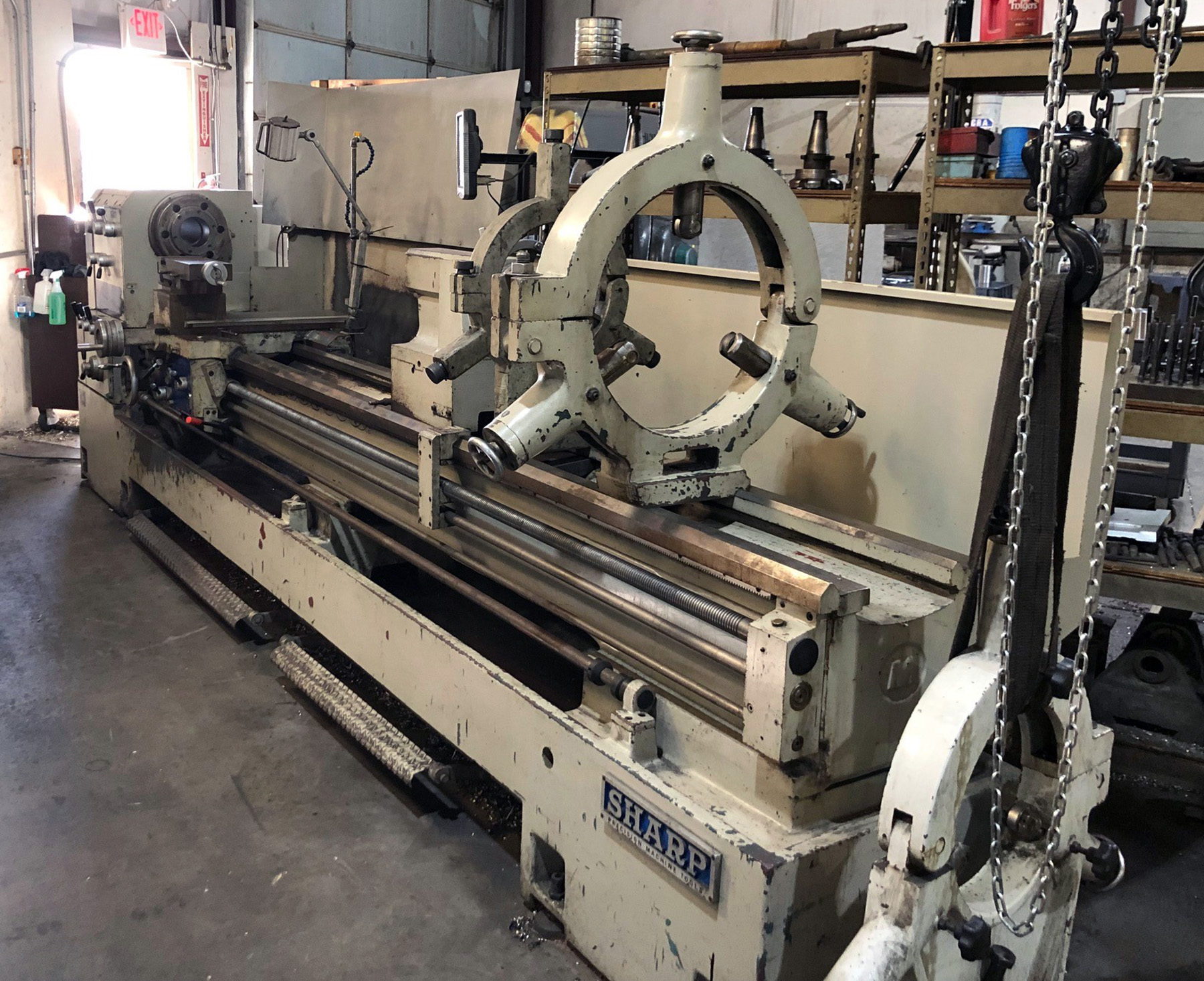 "USED, 30"" X 120"" SHARP MODEL 30120C ENGINE LATHE"