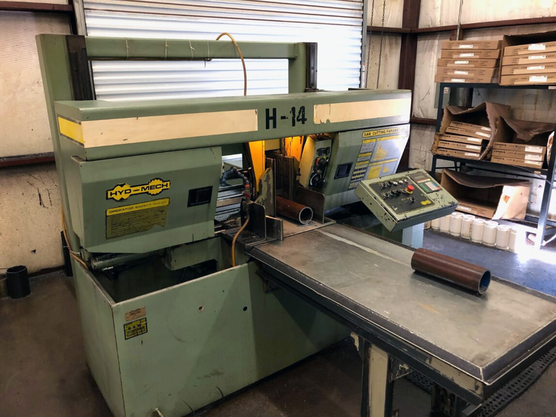 USED, HYD-MECH MODEL H-14A AUTOMATIC HORIZONTAL BANDSAW