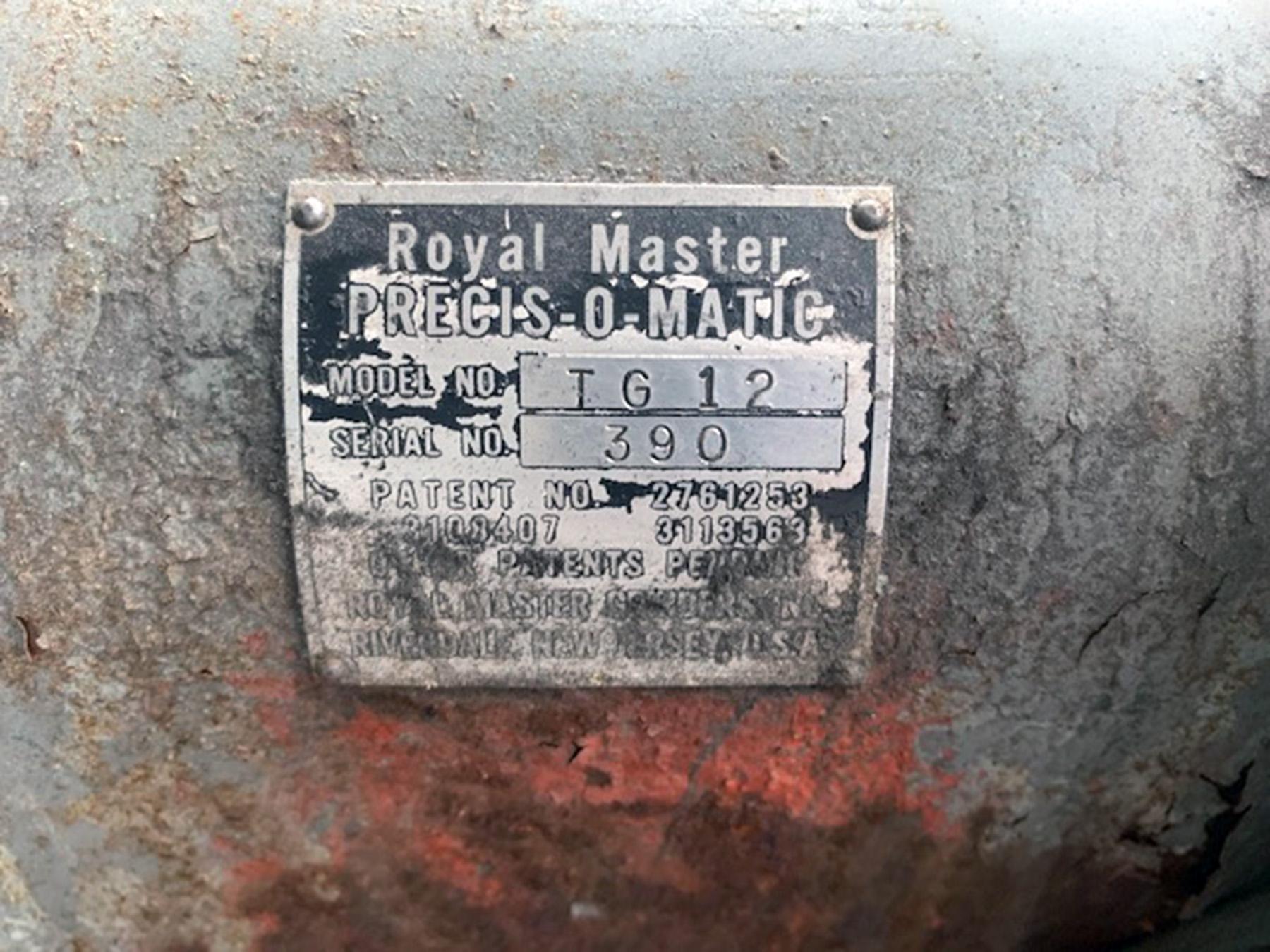 USED, ROYAL MASTER MODEL TG12 CENTERLESS GRINDER