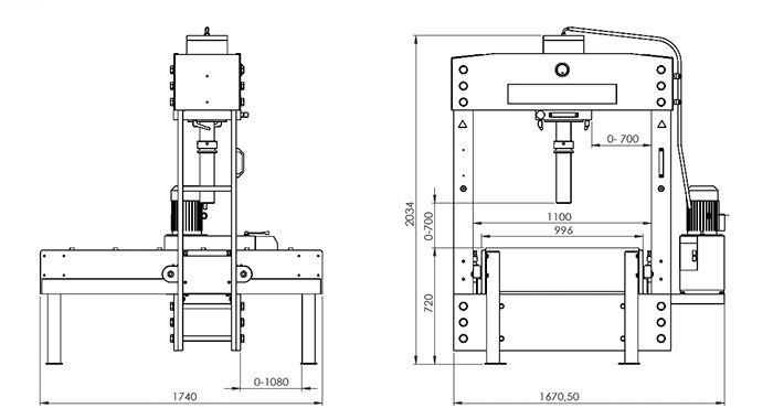 KNUTH MODEL PW GANTRY TYPE HYDRAULIC PRESS