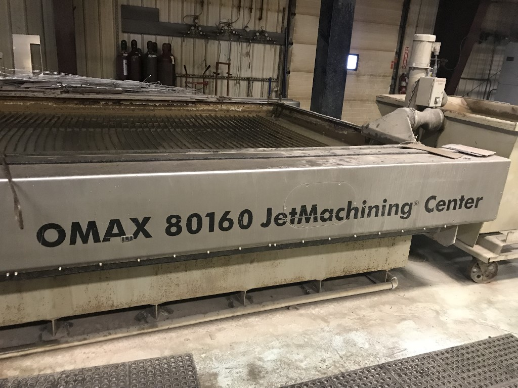 Omax 80160, 1999; 6'x12', 40HP Motor replaced 2017. 60K PSI, Water Softener/Filters, Garnet Supply Tank, Solid Removal, Spares