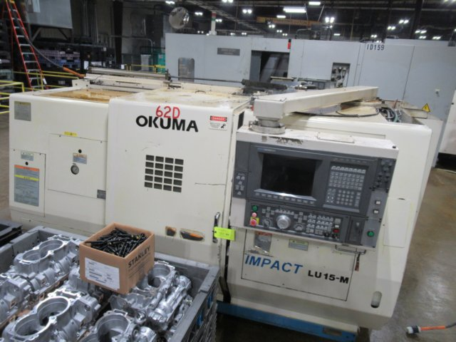 "OKUMAOkuma LU15-M-2ST Twin Turret Lathe, 20.9"" Swing, 16"" Swing over Carriage, 13"" Swing over Cross, 14.2"" Cutting Dia, 23.6"" Turn, 2.5"" Spindle Bore, 10""x25"" Upper Travels, 5.5""x24"" Lower Travels, 4500 RPM, Chip Conveyor, OSP-U100L"
