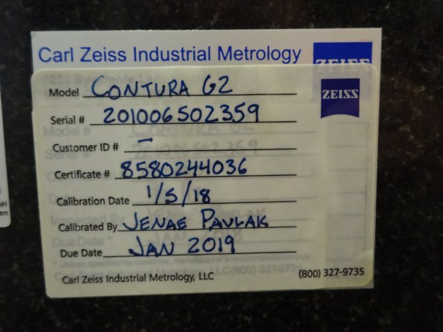 "ZEISSZeiss Contura G2 7/10/6 Aktiv, New 2010; 27.6"" x 39.4"" x 23.6"", Vast XT Probe, Calypso 5.6 Software, MSR, 34""x22"" Fixture Plate, Refurb 2013"