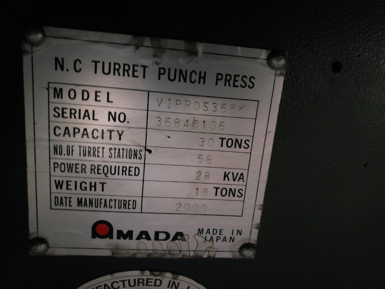 AMADA33 TON AMADA VIPROS 368 KING II, FANUC 18P CNC CONTROL NEW 2000