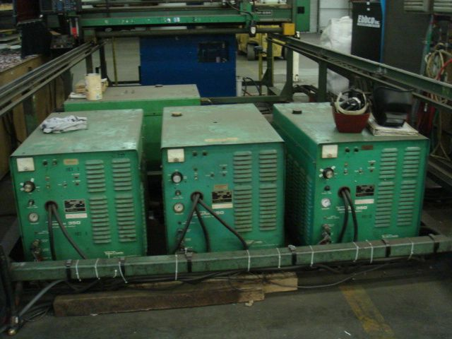 THERMAL ARC8' X 20', (3) 400 AMP THERMAL ARC 350 POWER SUPPLIES, 1 TORCH, BURNY 3 CNC