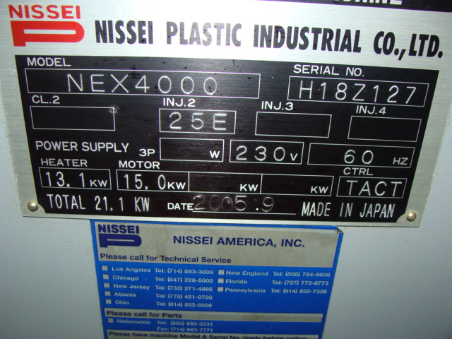 NISSEI NEX4000 ELECTRIC INJECTION MOLDING MACHINE