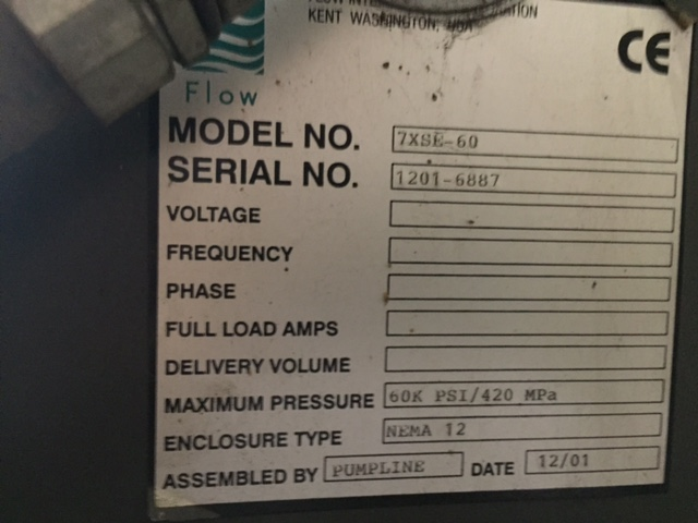 FLOWFlow 5-Axis Abrasive Waterjet, New 2001, 12' x 24' Table, Ebbco Recycling Unit, 7XSE-60 Intensifier, 60K PSI