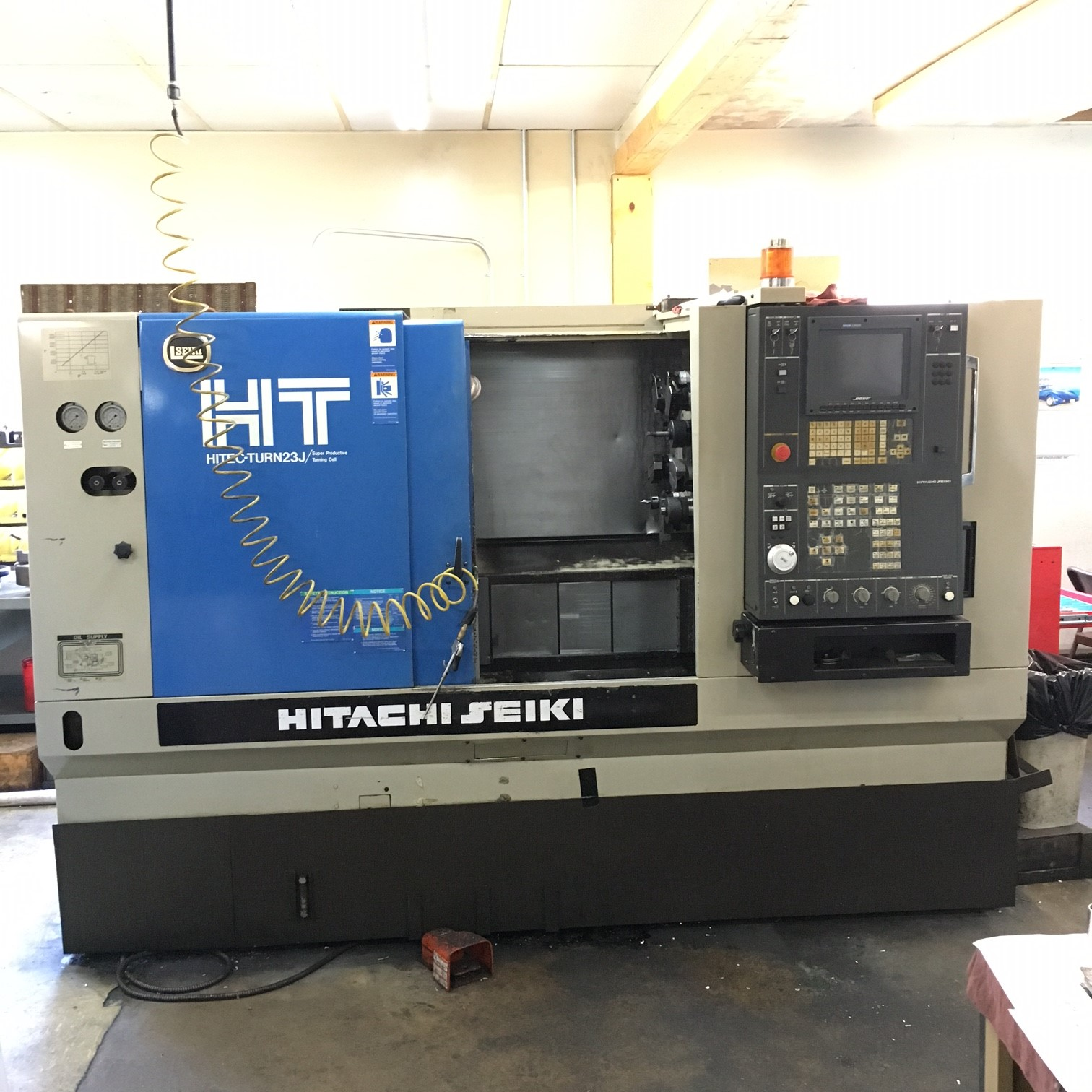 "Hitachi Seiki HT23J, 1998, 17.7"" Swing, 10"" Chuck, 13"" Dia, 24"" Length, 4K RPM, 2.6"" Bar Cap, Seicos J300L Ctrl, Tailstock, Low Hours!"