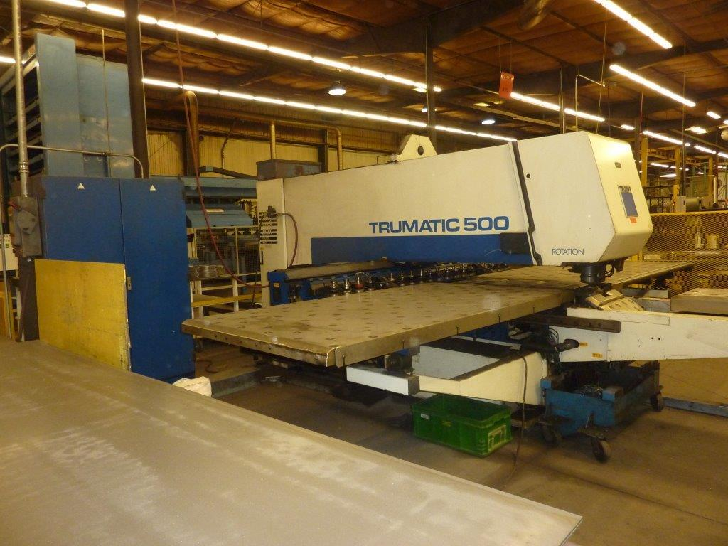 Trumpf 25 Ton TC-500 CNC Punch And Contour Machine Age: 1998 Model: TC500, 460V/60HZ,Bosch Trumagraph CNC Control,18 Station Linear Tool Changer On X-Axis Rail,  Programmable Tool Rotation,Multi-Tool