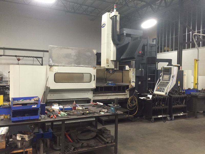 "Mighty Viper HB-3190A, 116"" x 76"" x 35"", Dual Auger, CAT50, 50HP, Fanuc 21iMB Ctrl, Conveyor"