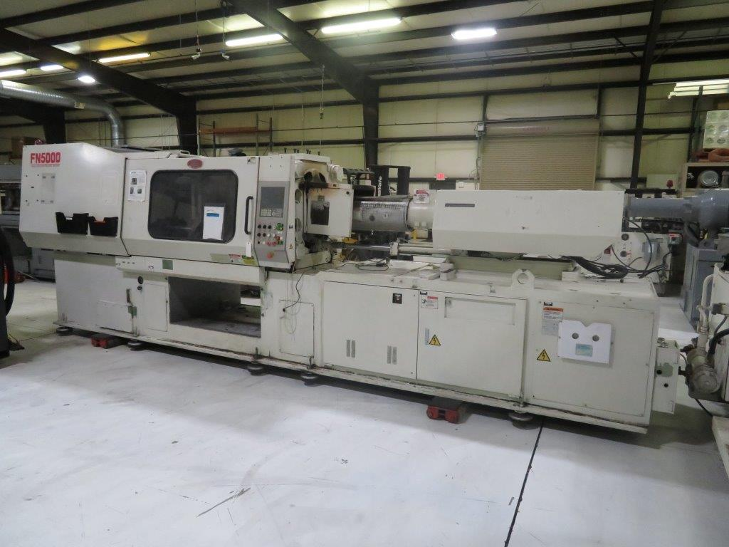 "Nissei FN5000-50A, New 2002, 239Ton, 21.4Oz, 23.2"" Tie Bar Spacing, 33.5"" Platens, 11.4"" Min Mold, 41.3"" Max Daylight, 29.9"" Clamp Stroke, NC9300T Ctrl, Core Pull"