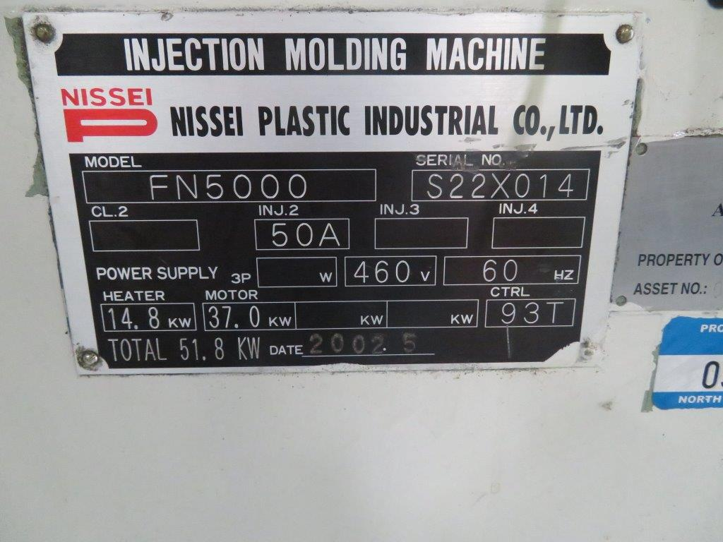 "NISSEINissei FN5000-50A, New 2002, 239Ton, 21.4Oz, 23.2"" Tie Bar Spacing, 33.5"" Platens, 11.4"" Min Mold, 41.3"" Max Daylight, 29.9"" Clamp Stroke, NC9300T Ctrl, Core Pull"