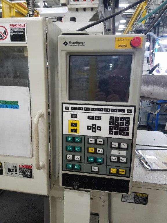USED 110 TON,6.7 OZ SUMITOMO INJECTION MOLDING MACHINE