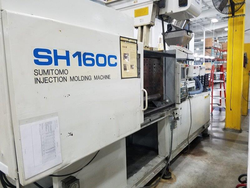 USED 176 TON 10.5 OZ SUMITOMO MODEL SH160C INJECTION MOLDING MACHINE
