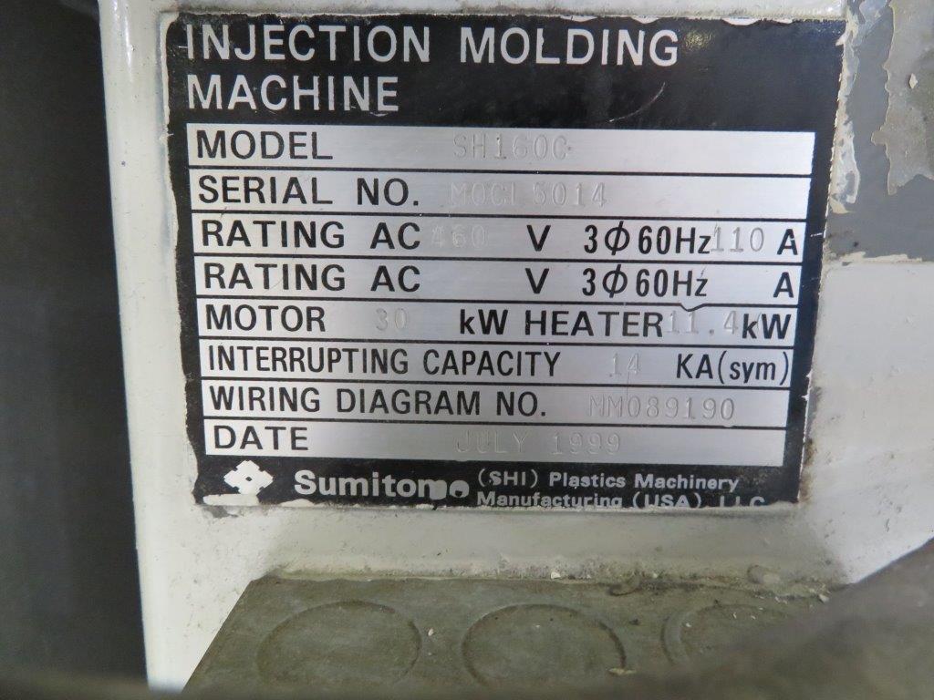 USED 176 TON 10.5 OZ SUMITOMO MODEL SH160C INJECTION MOLDING MACHINE