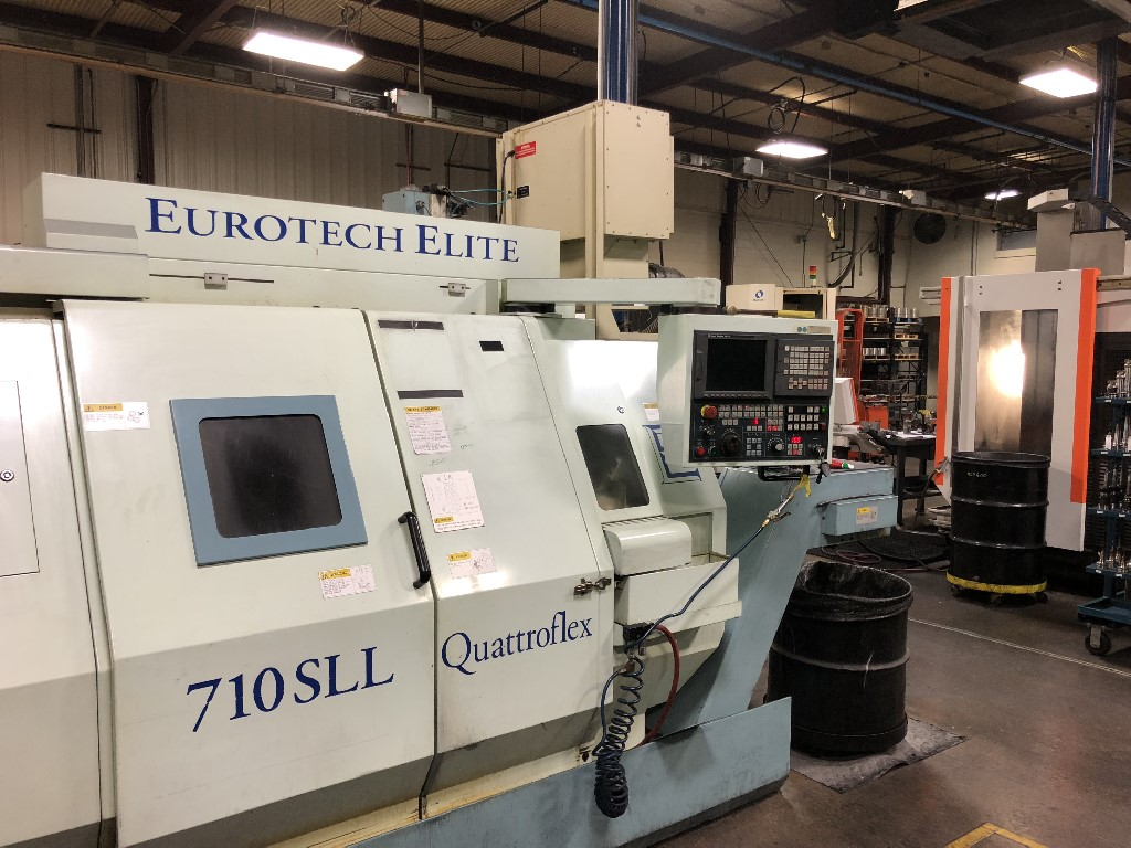 "Eurotech 710SLL Lathe, Twin Turrets, Sub Spindle, Live Tooling/Milling. 8.25"" Chuck, 2.75"" Bar Cap, 28"" Between Spindles, 12"" Length, 5K RPM, C-Axis, Live Holders, Coolant, & More"
