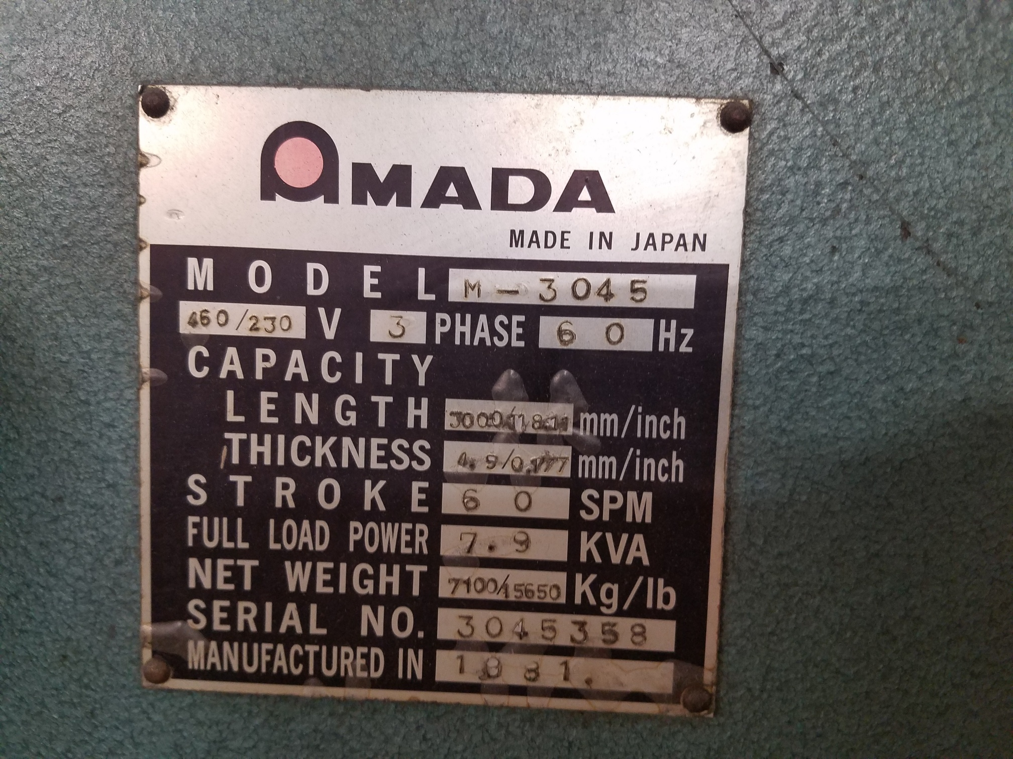 AMADAAmada M-3045 Power Squaring Shear, New 1981 10' x 3/16""