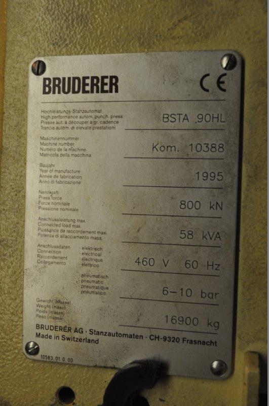 90 TON BRUDERER BSTA 90 HL HIGH SPEED PRESS