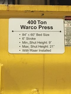 400 TON WARCO STRAIGHT SIDE DOUBLE CRANK PRESS