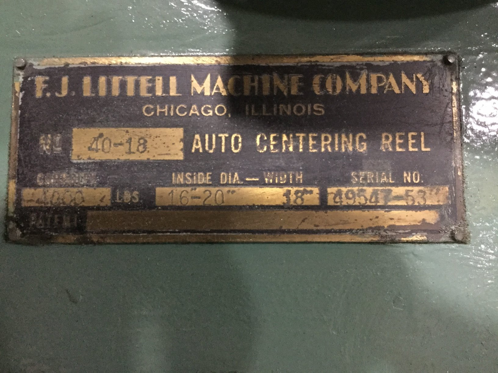 4000 LB LITTELL AUTOMATIC CENTERING REEL
