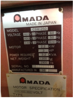 AMADA MODEL CWS-250 10 GAUGE HYDRAULIC NOTCHER