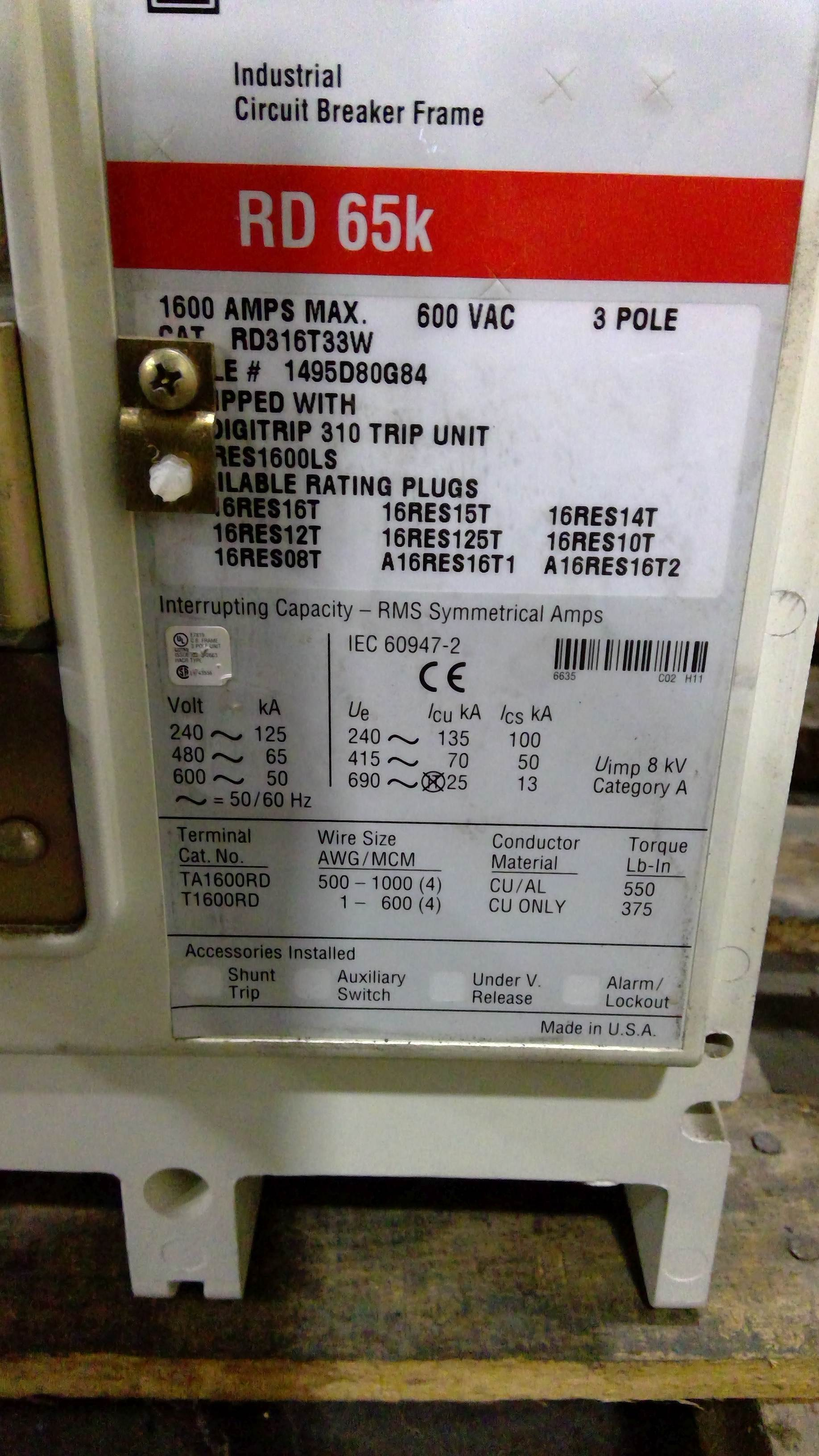 EATON CUTLER-HAMMER POW-R-WAY III 1600 AMP RD65K CIRCUIT BREAKER (4 AVAILABLE)
