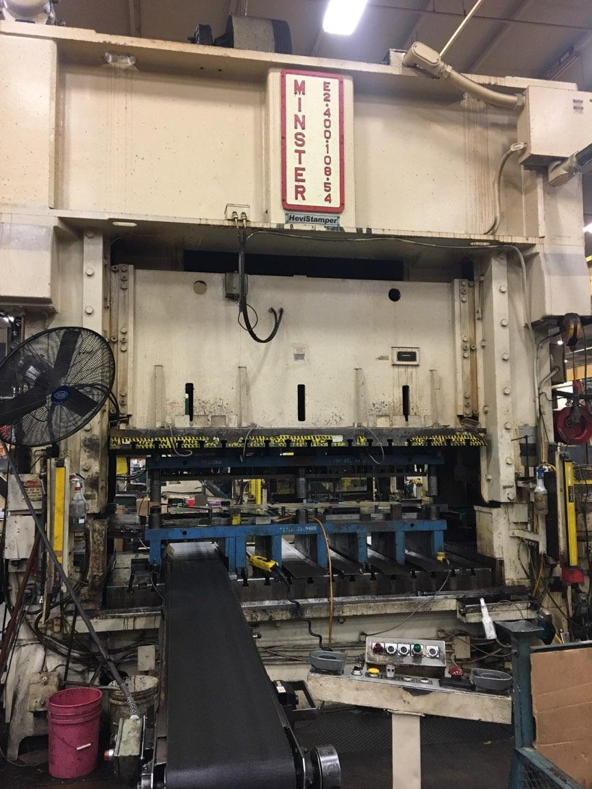 "400 TON MINSTER STRAIGHT SIDE PRESS w/32"" FEED LINE"