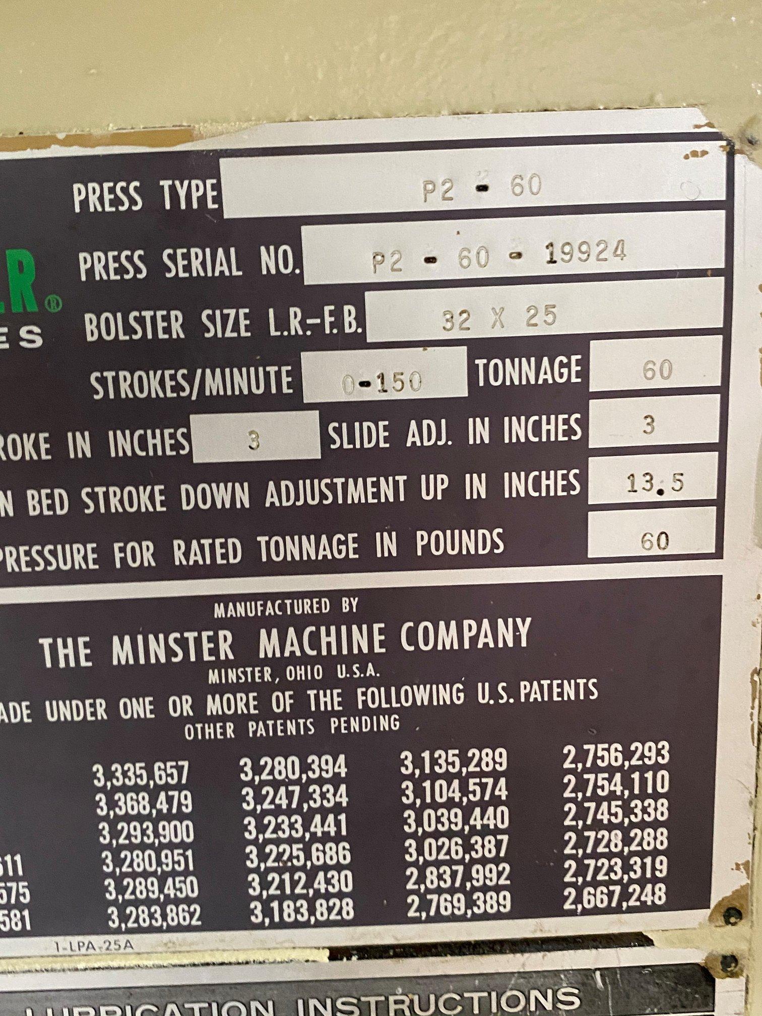 "60 TON MINSTER P2-60 ""PIECE-MAKER"" STRAIGHT SIDE PRESS"