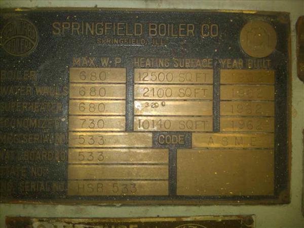 SPRINGFIELD TWO-DRUM BENT TUBE BOILER
