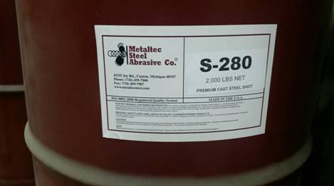METALTEC S-280 PREMIUM CAST STEEL SHOT, (65) 2000 LB. DRUMS AVAILABLE INDIVIDUALLY