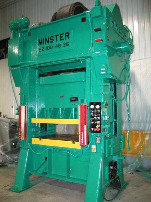 """100 Ton, MINSTER, No. E2-100-48-36, 3""""STR, 18.75""""SH, 0-120 SPM, 48""""X36""""BA"""