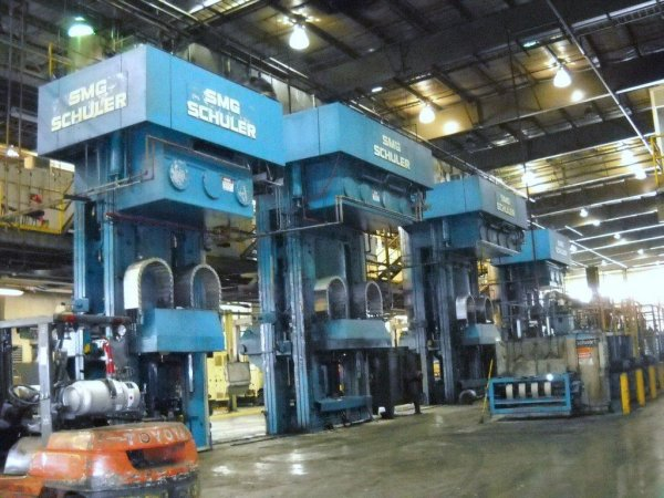 "3968 Ton, SMG SCHULER FORGING PRESS LINE, (4) PRESSES, 28""STR, 40""X40""BA, 700IPM"