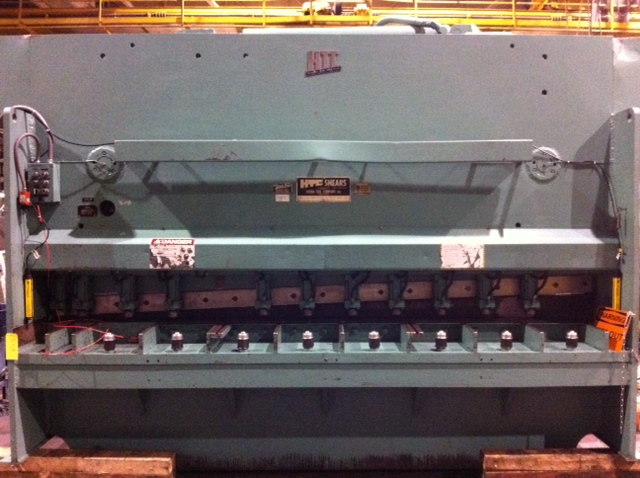 "5/8"" X 12′  HTC MODEL 625-12SR HYDRAULIC POWER SQUARING SHEAR, 12 HOLD DOWNS, 50 HP, FOPBG, 1977"