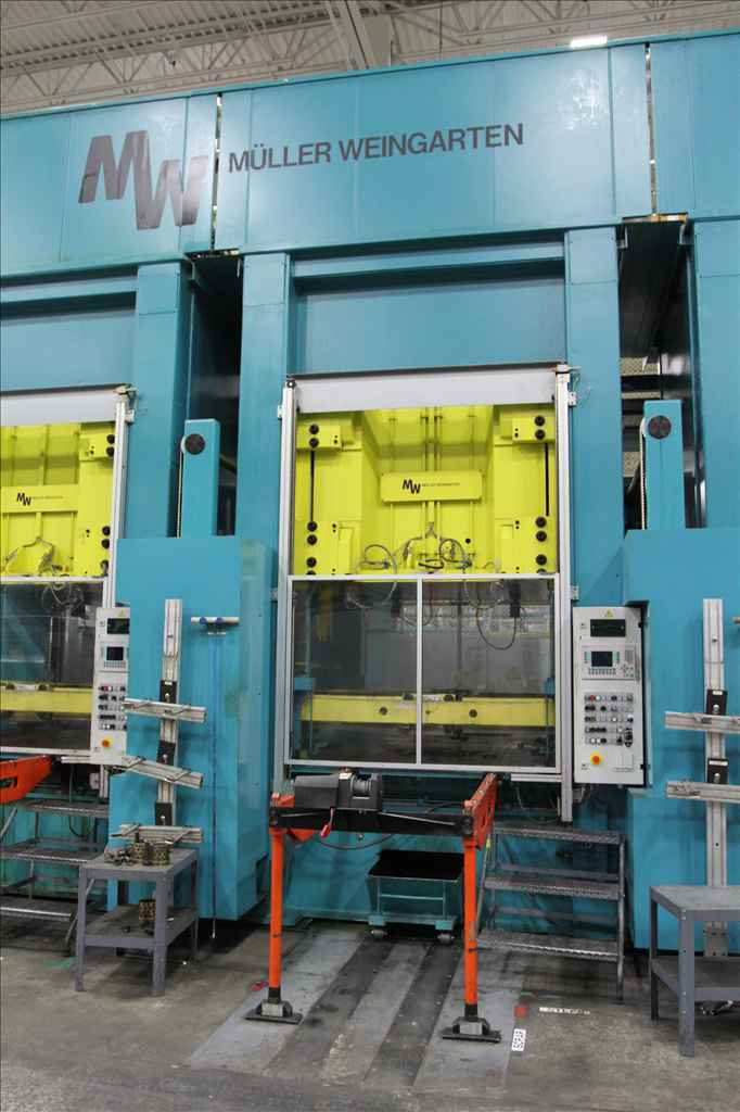 "300 TON MULLER- WEINGARTEN MODEL ZE-300-15/16.1.1,DOWNACTING GIB GUIDED HYDRAULIC PRESS,20.87""STR,CUSHION,2002,LIKE NEW,(3) AVAILABLE"