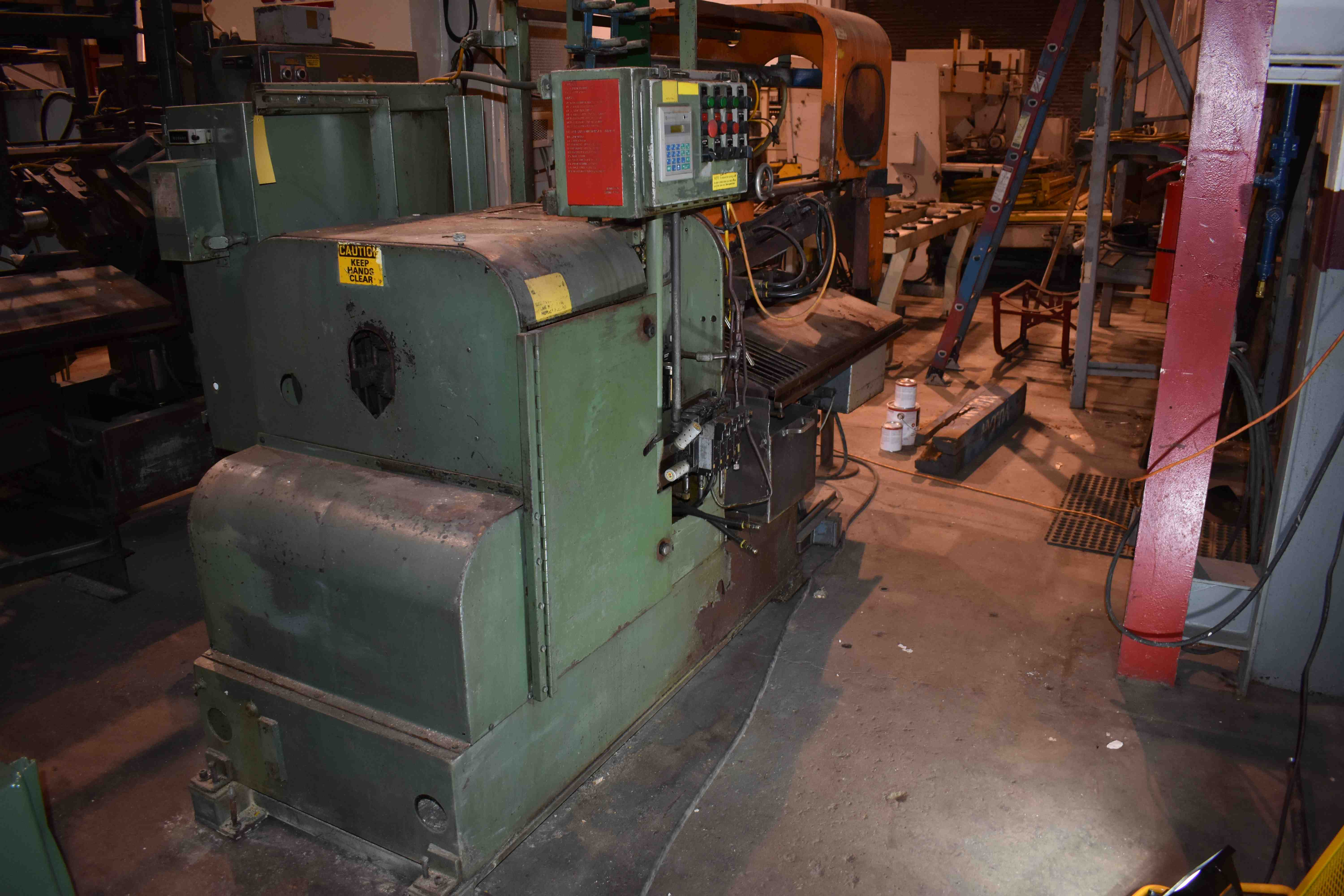"2"" MODERN MODEL 2-K CUT OFF MACHINE WITH 20'AUTOMATIC BAR FEEDER ,PLC CONTROLS, REBUILT UPDATE BY MODERN 1994"