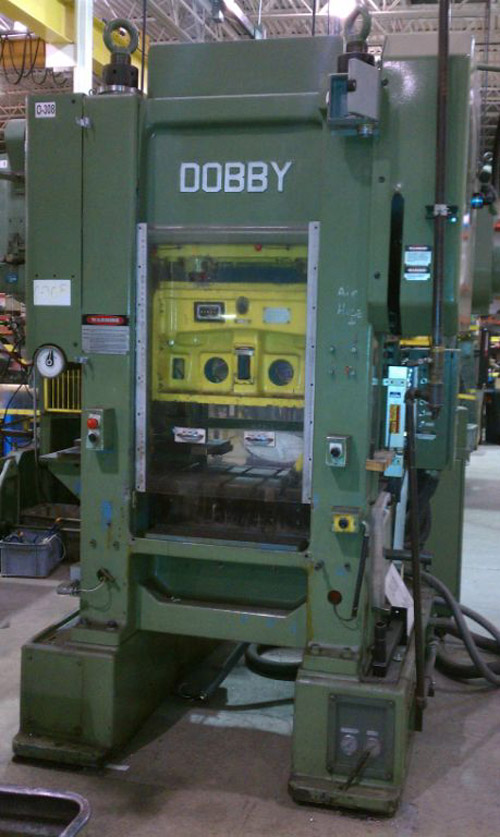 "60 TON DOBBY, MODEL # EH-60, HIGH SPEED STRAIGHT SIDE PRESS, 2"" STR, 10.50"" SH, 4"" ADJ, 19"" X 24"" BA, 180-350 SPM, 1992"