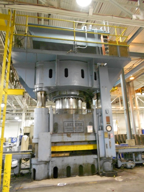 "3500 TON LAKE ERIE 4 POST HYDRAULIC PRESS, 30"" STR, 24"" CLOSED DLO, 120"" LR X 96"" FB BA, SHUTTLE TABLE, 1952"