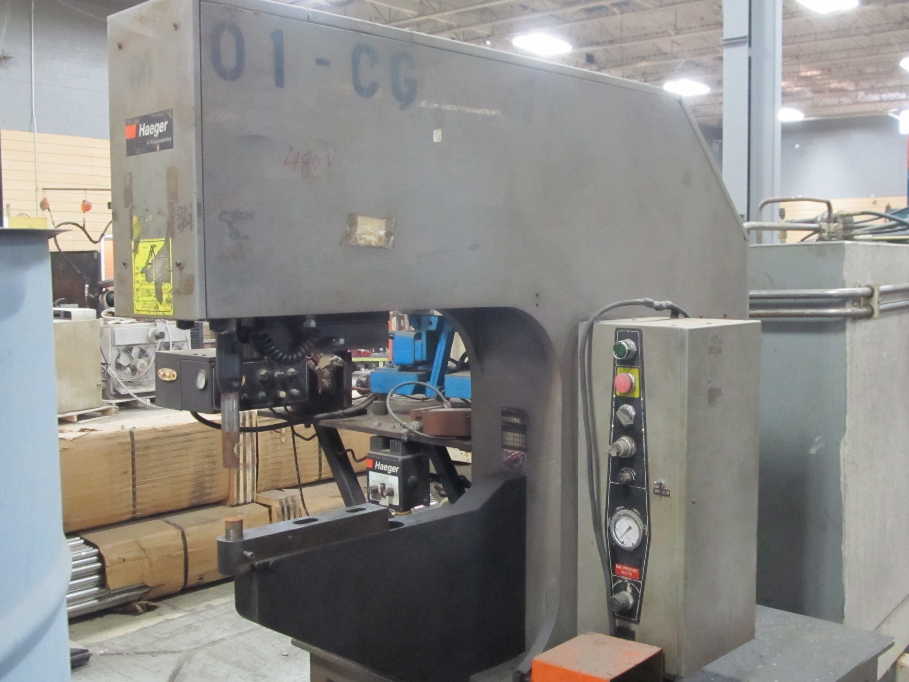 "10 TON HAEGER 824 INSERTION PRESS, MODEL HP10-A, 20,000 LBS FORCE, 24"" THROAT, 8.50"" ADJ. STR."