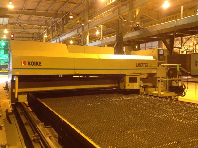 "4000 WATT KOIKE CNC GANTRY TYPE LASER, LASERTEX SERIES LT-3540, FANUC C4000 RESONATOR, 120"" X 60′ TABLE, FANUC #160iL CNC CONTROL, 2002"