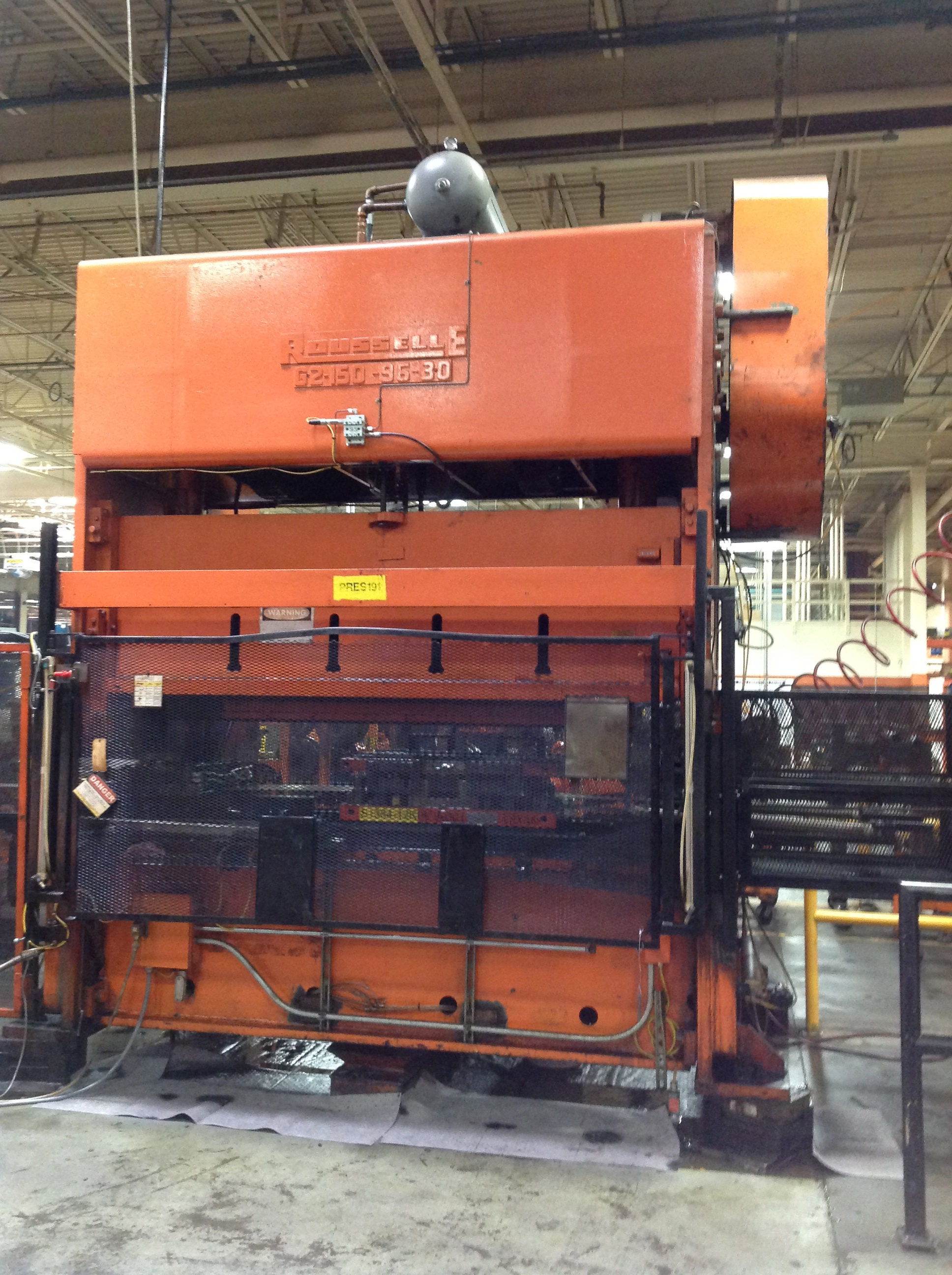 "150 TON ROUSSELLE GAP FRAME PRESS, G2-150-96-30, 6"" STR, 21"" SH, 6"" ADJ, 102"" LR X 30"" FB BA, 35 SPM, 1979"