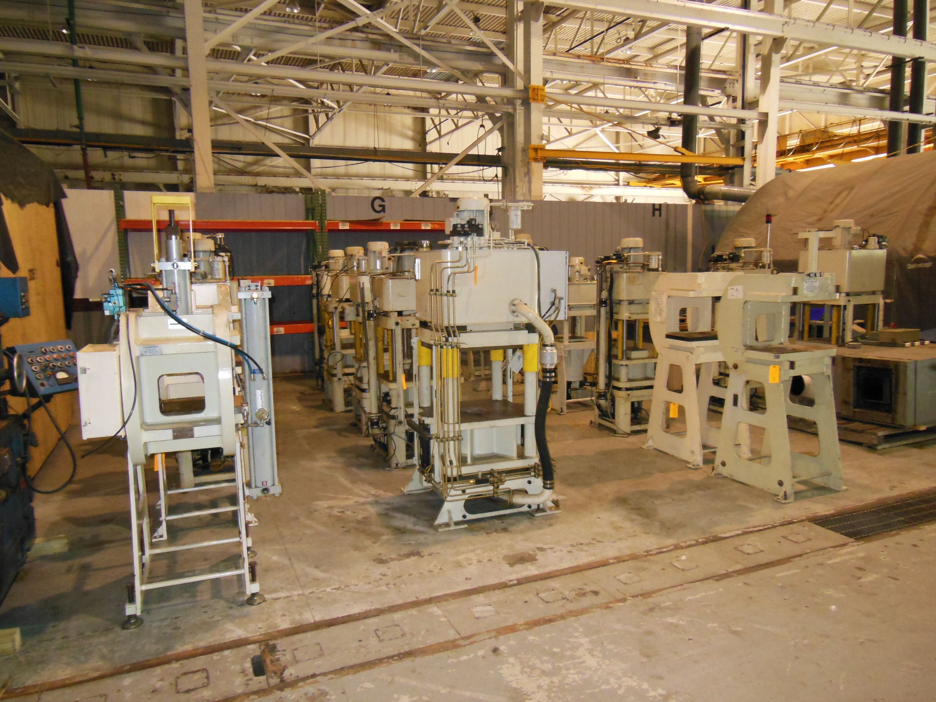 60 TON & 40 TON FISHER DYNAMICS UP ACTING HYDRAULIC 4 POST PRESS, C-FRAME PRESSES, C-FRAME STANDS, CUSTOMER CHOICE 19 AVAILABLE!!