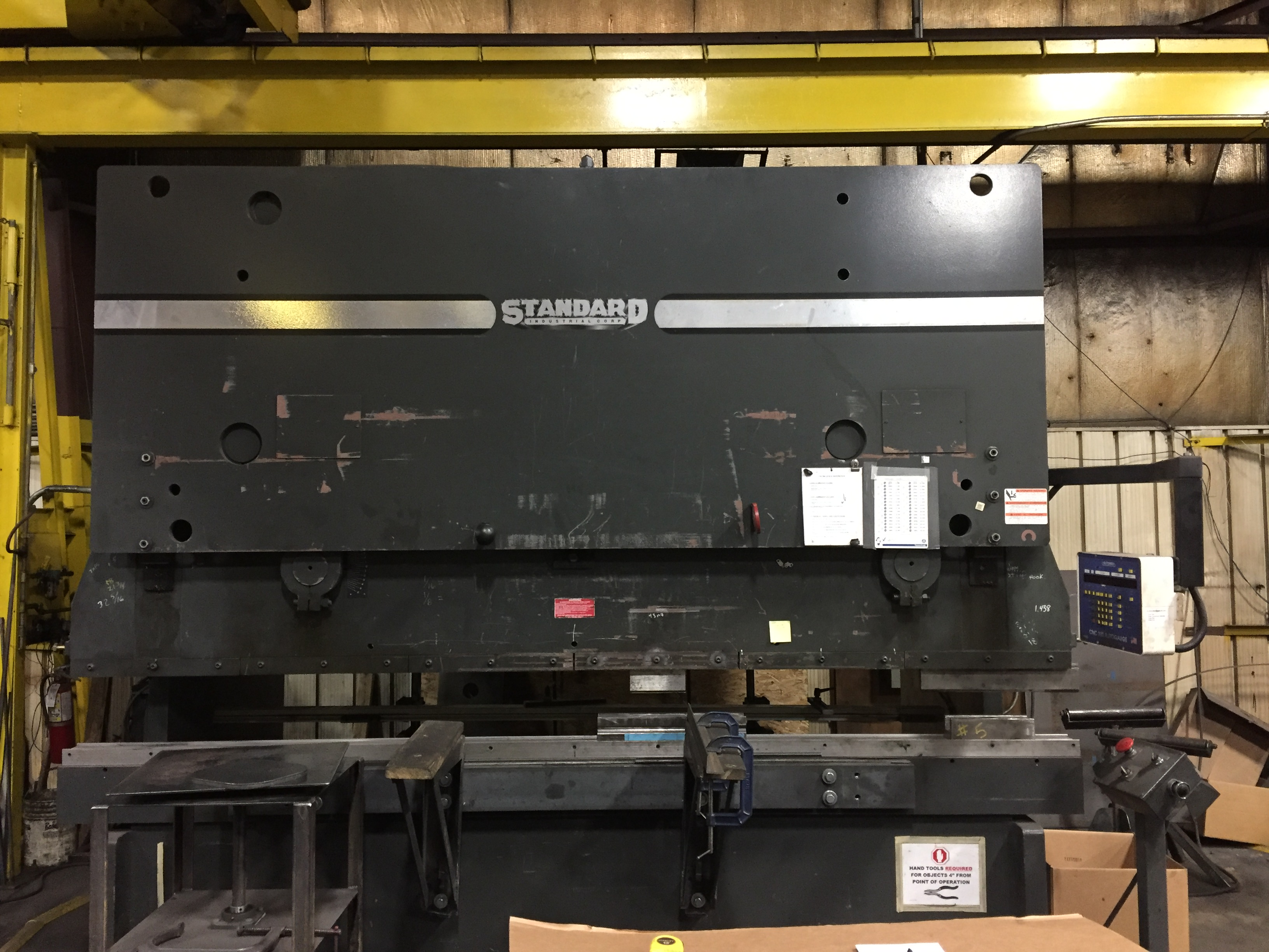 "250 TON X 12′ STANDARD INDUSTRIAL CORP HYDRAULIC PRESS BRAKE, MODEL AB250-12, 16"" OPEN, 8"" STR, 10"" THROAT, 2-AXIS AUTOMEC CNC GUAGE, 2012"