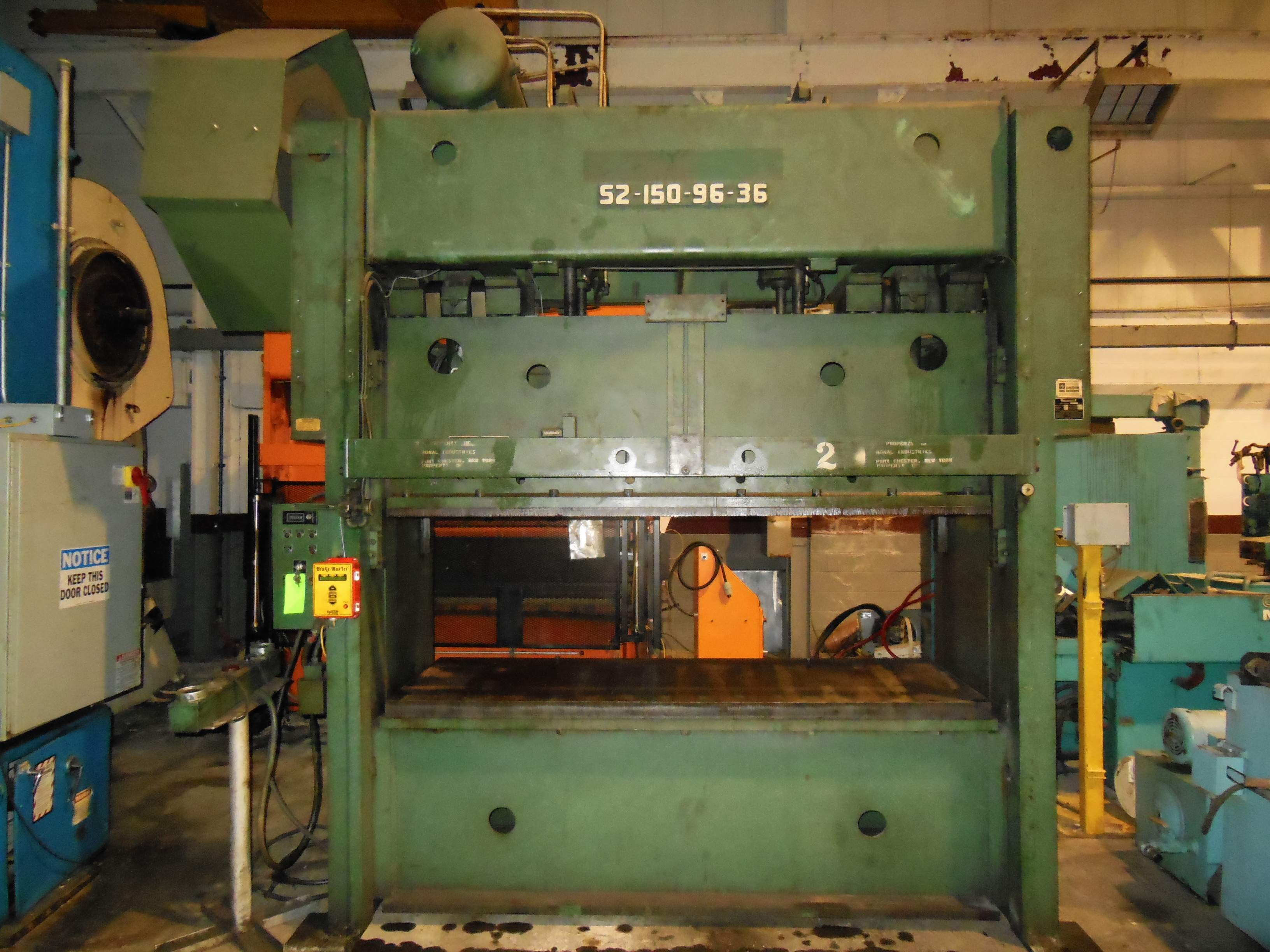 "150 TON ROUSSELLE 2 POINT STRAIGHT SIDE PRESS, MODEL S2-150-96-36, 6"" STR, 41"" SH, 4"" ADJ, 96"" X 36"" BA, 40 SPM"